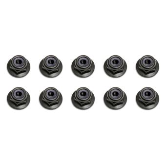 Team Associated Locknuts, M3, flanged, black
