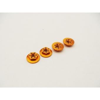 Hiro Seiko Thin Serrated Wheel Nut 4mm (Orange | 4pcs)
