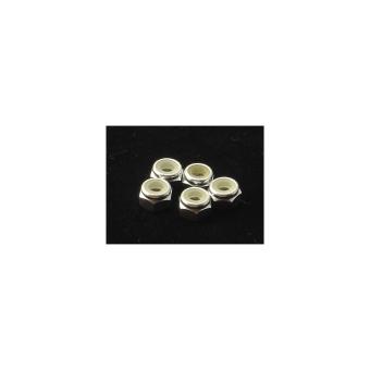 Hiro Seiko 4mm Alloy Nylon Nut [Silver] (5pcs)