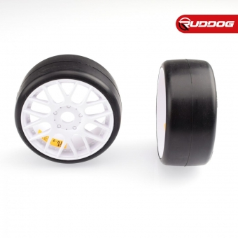 Sweep 1:8 GT-R2 Pro compound slick pre-glued tires 55deg with EVO16 White wheels pair (Double stage inserts)