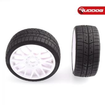 Sweep 1:8 EXP GT racing treaded glued tires 40deg. w/Belt(EVO16 white wheel), 2pcs